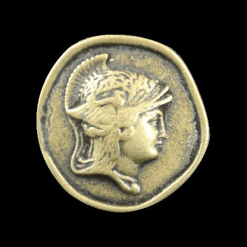 Altmessingfb. Münzknopf mit Hermes-Kopf