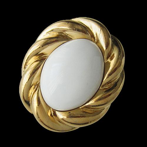 www.Knopfparadies.de - 1592wg - Elegante weiß goldfarbene Schmuckknöpfe aus Kunststoff