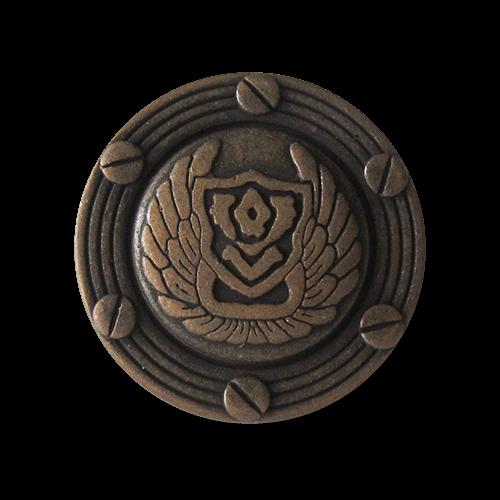 Imposante bronzefarbene Metall Ösen Knöpfe mit Wappen, Flügeln & Schrauben