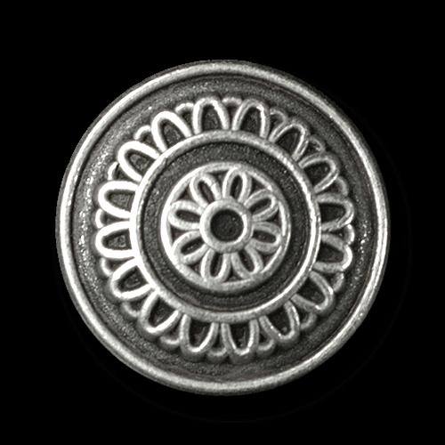 Hübscher altsilberfarb. Metall Knopf mit Blumen Muster