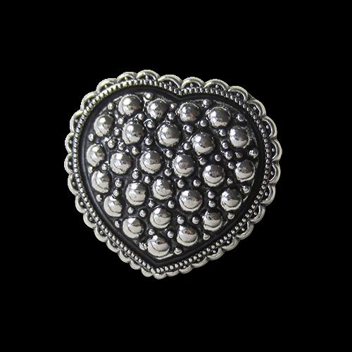 www.knopfparadies.de - 1328as - Wundervolle Metallknöpfe: Opulentes Herz