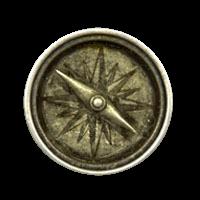Altsilbener Metallknopf wie Kompass