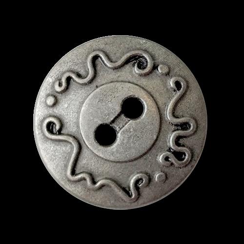 www.knopfparadies.de - 1002ds - Altsilberfarbene Metallknöpfe mit zwei Löchern