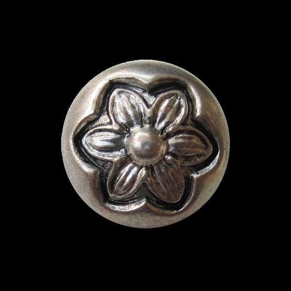 Altsilberfb. Metall Knopf mit Blüte in Vintage Optik