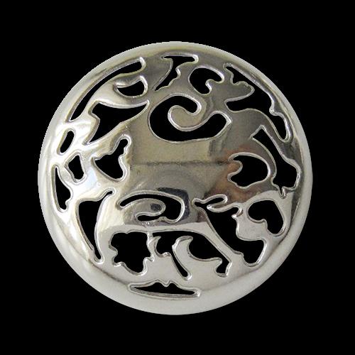 www.Knopfparadies.de - 3078si - Phantasievoll gemusterte silberne Metallknöpfe mit Durchbruch