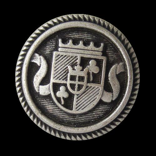 www.knopfparadies.de - 5754as - Blazerknöpfe aus Metall mit gekröntem Wappen