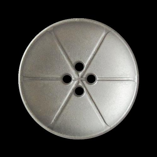 www.knopfparadies.de - 3737sm - matt silberfarbene Metallknöpfe mit 4 Löchern
