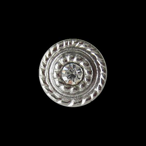 www.Knopfparadies.de - 1215hs - Kleine Metallknöpfe in Silber mit Glitzerstein
