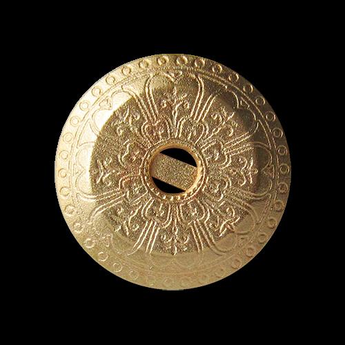 Bildschöne matt goldfarbene Metallknöpfe mit Ornament Muster und Öse