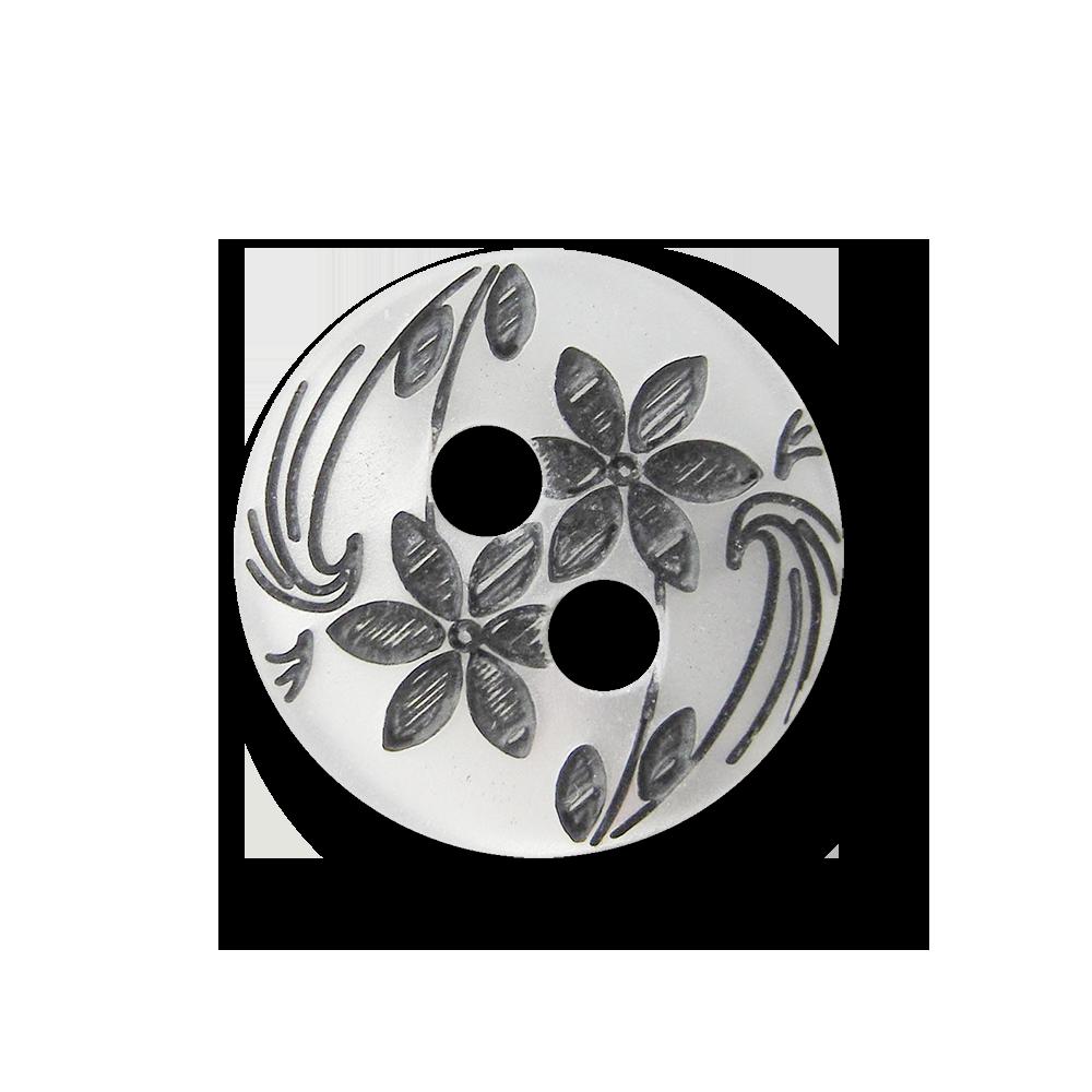 Kleiner perlmutt weißer Knopf mit schwarzen Blüten ...