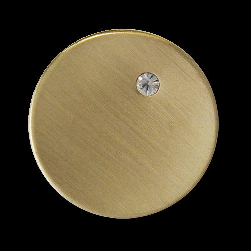 www.Knopfparadies.de - 4082go - Leichte Metallblechknöpfe mit Schmuckstein in Gold