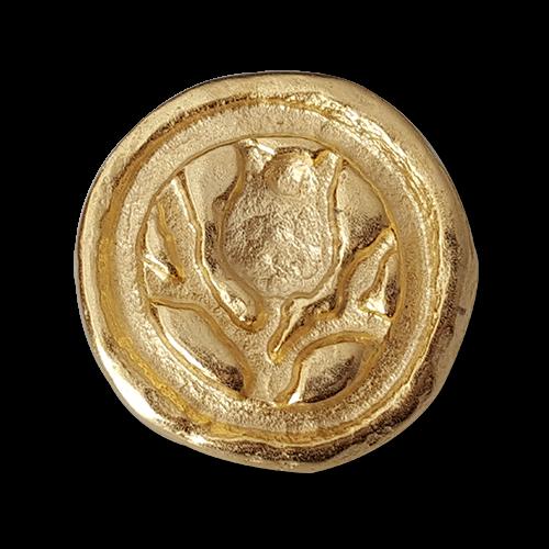 Metallknopf mit Blume in matt Goldfarben