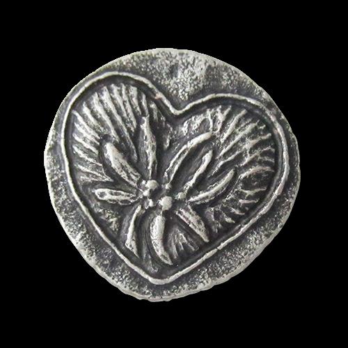 www.Knopfparadies.de - 0087si - Silberne Trachtenknöpfe aus Metall mit Edelweiß-Motiv