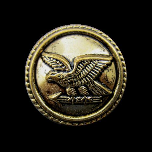 www.knopfparadies.de - d181ag - Leichte, altgoldfarbene Uniformknöpfe mit Adler und Pfeil