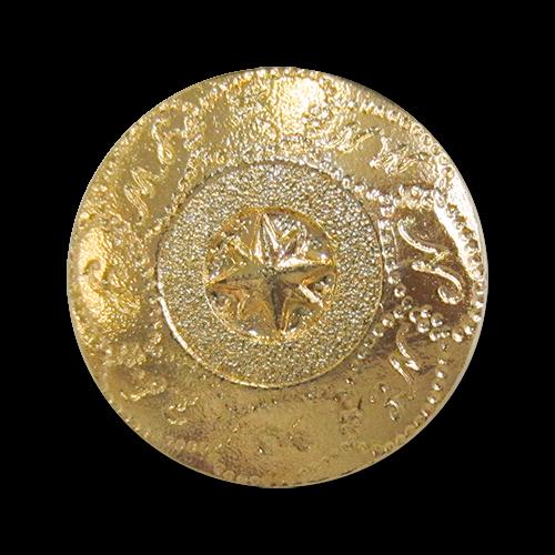 www.knopfparadies.de - 5398go - Glänzend goldfarbene Kunststoffknöpfe mit maritimenem Motiv