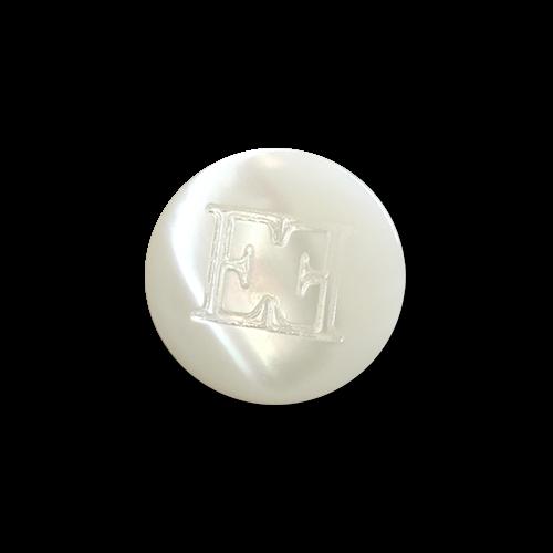 www.knopfparadies.de - pm033we - Weiße, hochwertige Perlmuttknöpfe mit Öse