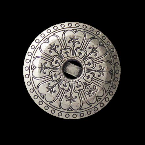 Bildschöne altsilberfarbene Metallknöpfe mit Ornament Muster und Öse
