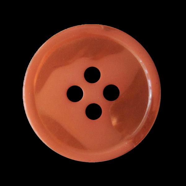Ausgefallener orangefarbener Kunststoff Vierloch Knopf mit Perlmuttschimmer