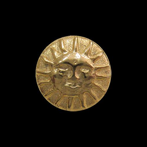 www.Knopfparadies.de - 5736go - Kleine goldene Ösen Metallknöpfe mit Sonnen-Gesichtern