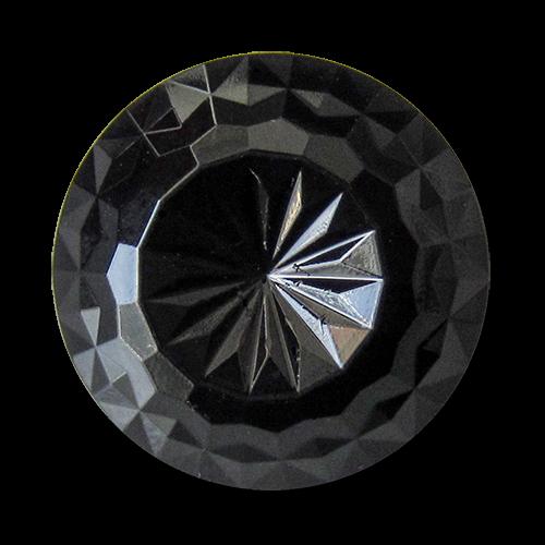 www.Knopfparadies.de - 5901sc - Leichte schwarze Kunststoffknöpfe wie facettierte Glasknöpfe
