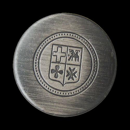 www.Knopfparadies.de - 4400ei - Schlichte eisenfarben gebürstete Wappenknöpfe aus Metall / B-WARE
