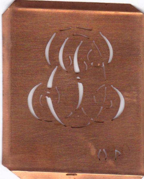 Alte Wäscheschablone, Stickschablone mit Initialen OP