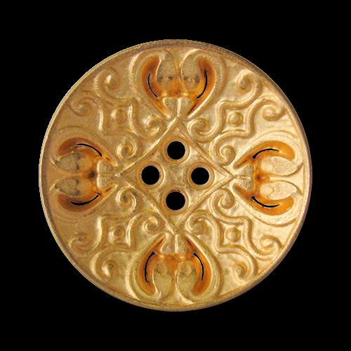 www.knopfparadies.de - 3834go - Nostalgisch gemusterte Vierloch Metallknöpfe in Gold