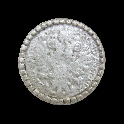 www.Knopfparadies.de - j023as - Silberne Münzknöpfe aus Metall mit Adler-Motiv
