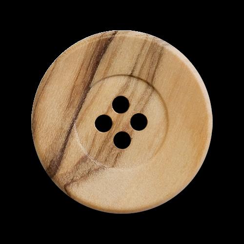 www.knopfparadies.de - 2218ho - Holzknöpfe mit vier Löchern und breitem Rand