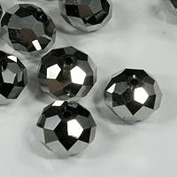Packung: 5 silberfb. geschliffene Glasperlen