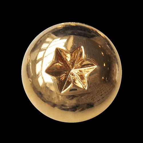 Glänzend goldfarbener Halbkugel Metall Knopf mit Stern
