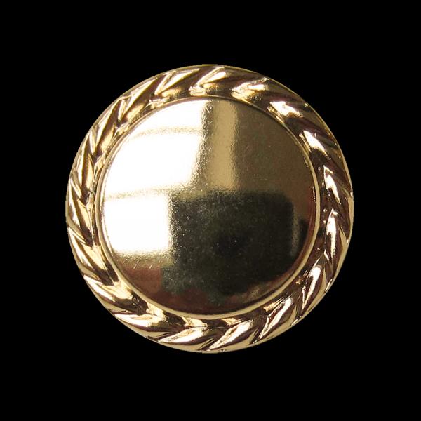 Edel gold glänzender Metallblech Knopf m. Kordel Rand