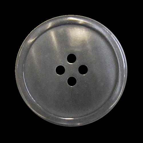 www.knopfparadies.de - 5984gr - Grau schimmernde Kunststoffknöpfe mit vier Löchern