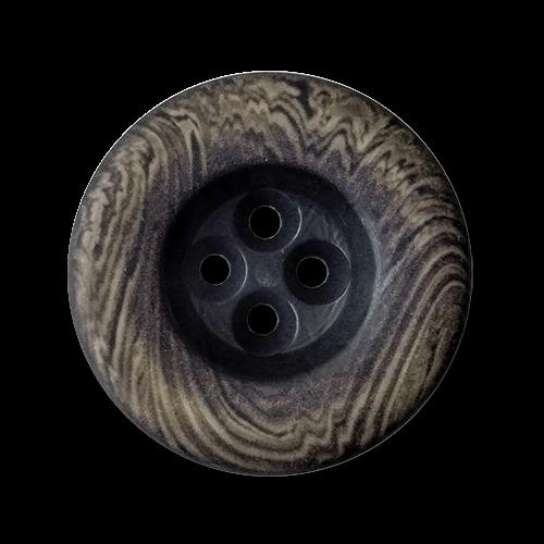 www.knopfparadies.de - 6044gb - Grau-Braune Kunststoffknöpfe mit Maserung wie Holzknöpfe