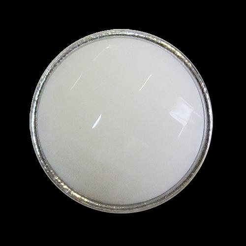 www.knopfparadies.de - 3993ws - Elegante Mantelknöpfe in weiß und silber