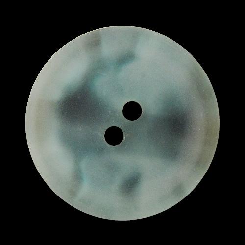www.Knopfparadies.de - 2515bl - Hellblau und grau melierte Zweiloch Kunststoffknöpfe wie gefrostetes Glas