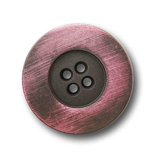 Eisenfarb. Vierloch Metall Knopf mit rosa Schimmer