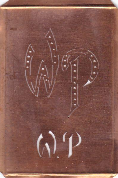 www.knopfparadies.de - WP-sch-042 - Wäsche-Schablone aus Kupferblech zum Sticken von Monogrammen WP