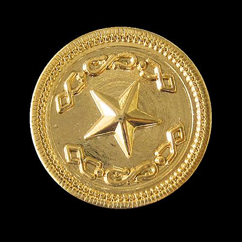 Eleganter glänzend goldf. Metall Knopf m. Stern Relief