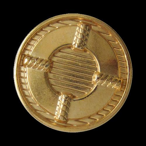www.Knopfparadies.de - 3132go - Schraffierte Metallknöpfe in Gold mit Rettungs Ring