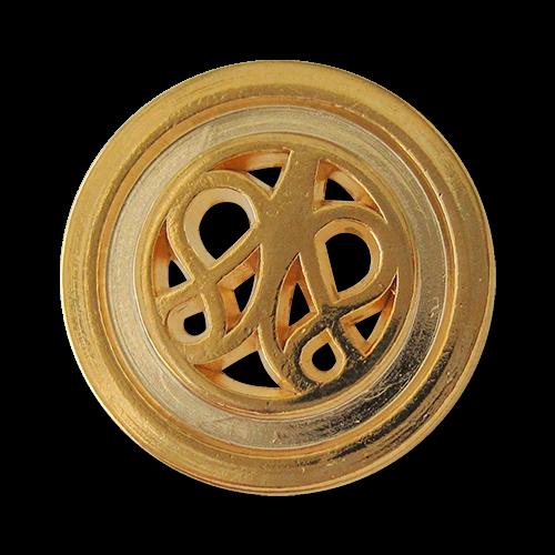 www.knopfparadies.de - 0426gg - Glänzend goldfarbene Metallknöpfe mit Durchbruch