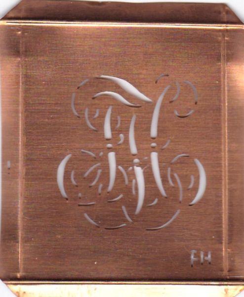 www.knopfparadies.de - FH-sch-770 - Wäsche-Schablone Sticken Monogramm Stickvorlage FH
