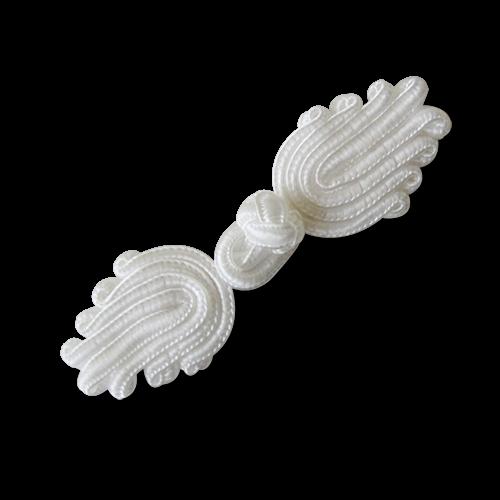www.Knopfparadies.de - 1549we - Edle weiße Posamentenverschlüsse in Tulpen Form