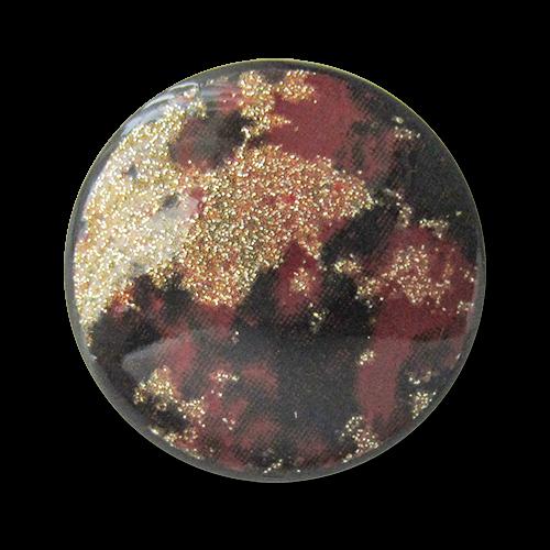 www.Knopfparadies.de - 3276rg - Elegante schwarz rot goldene Glitzerknöpfe aus Kunststoff