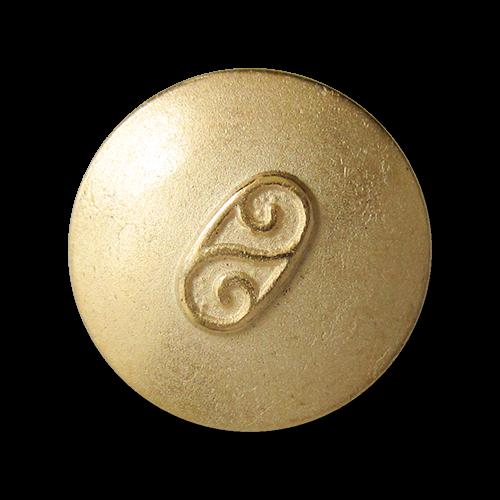 www.Knopfparadies.de - 0790go - Älter wirkende matt goldfarbene Metallknöpfe mit Doppel Spirale
