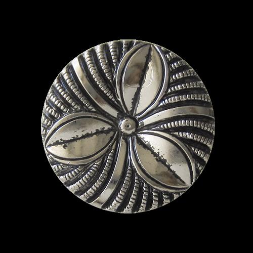 Leichter Knopf in silberner Metall Optik mit floralem Motiv