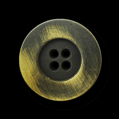 Eisenfarb. Vierloch Metall Knopf mit gelbem Schimmer