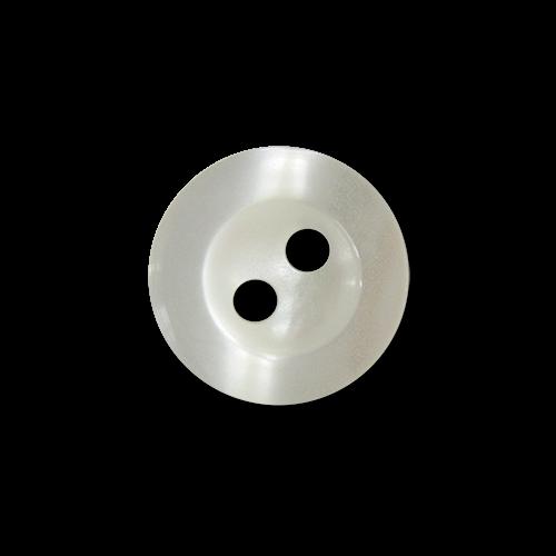 www.Knopfparadies.de - 5955we - Kleine weiß schimmernde Zweiloch Blusenknöpfe / Hemdknöpfe aus Kunststoff