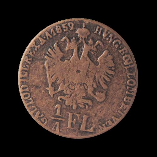 www.knopfparadies.de - cu - Historische Münzknöpfe: Österreichische 1/4 Florin mit Doppelkopfadler