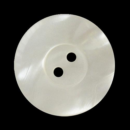www.knopfparadies.de - 3383we - Weiß schimmernde Kunststoffknöpfe